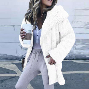 Fashion Solid Color Faux Fur Zip Up Long Cardigans