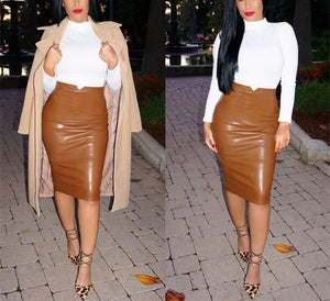 Autumn And Winter Repair Body Plus Velvet PU Splice Hip Half Skirt
