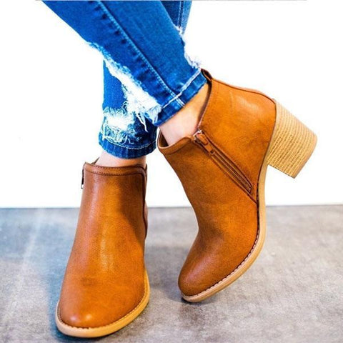 Fashion Side Zipper Chunky Heels Ankle Boots