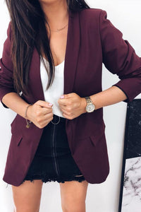 Narrow Notch Lapel  Flap Pocket Plain Blazers Jacket
