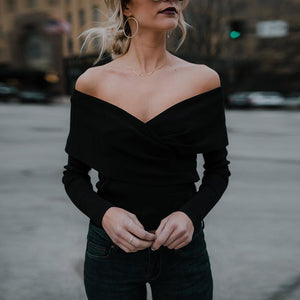 A Stylish V-Neck With An Off-The-Shoulder Knit Top Sweater
