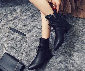 Fashion Pointed Toe Chunky Heels Short Boots