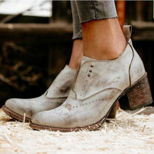 Fashion Street Style Plain Coarse Heel Ankle Boots