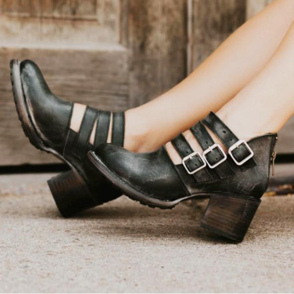 New Kitten Heels Buckle Shoes Ankle Boots