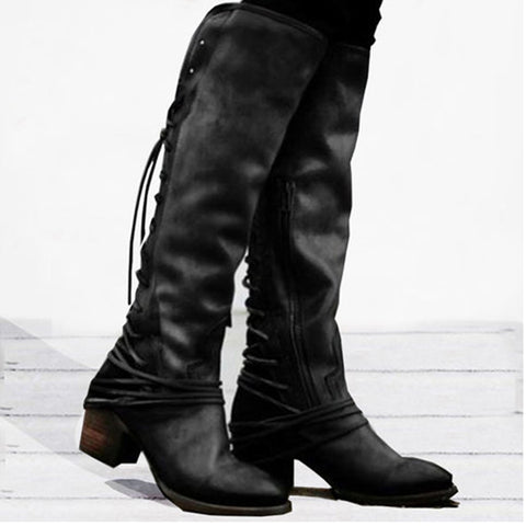 Plain Round Toe Casual Outdoor Knee High High Heels Boots Shoes