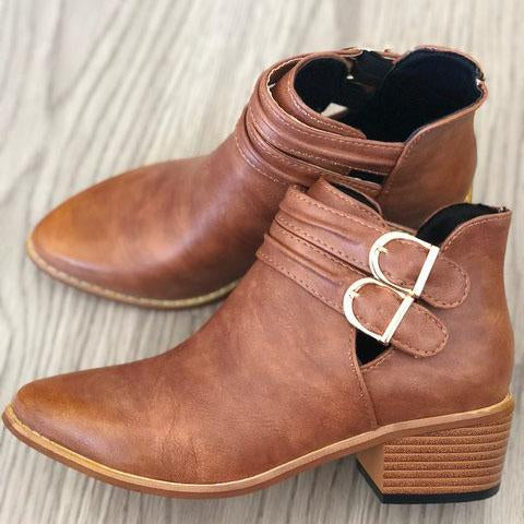 Women Retro PU Boots Adjustable Buckle Middle Heels Ankle Boots
