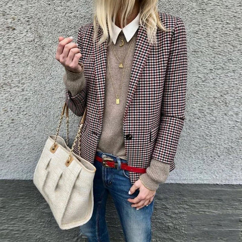 Trench Check Coat Stylish Plaid Long-Sleeve Suit Jacket