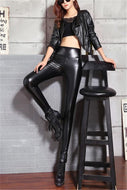 PU Leather Pants With High Waist And Super Soft Four Sides