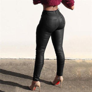 Stylish Slim Fit Pants Leather Pants For Women