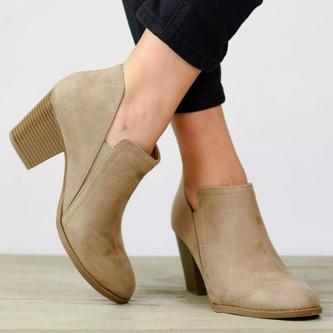 Fashion Coarse High Heel Ankle Boots