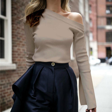 Fashion Pure Color Long Sleeve One Shoulder Tops