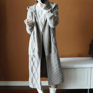 Autumn Winter Hat Thick Knitted Long Coat