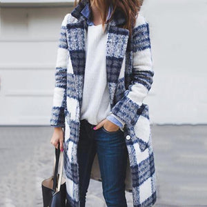 Shawl Collar Long Plaid Coat