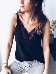 V-Neck  Backless Cutout Decorative Lace Ruffle Trim See-Through Crochet  Hollow Out Sleeveless T-Shirts