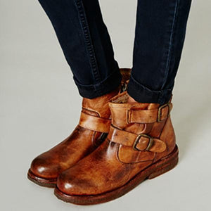 Fashion Artificial Leather Belt Short Flat Boots