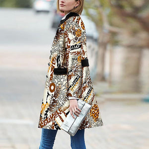 Retro Fashion Slim Print Long Sleeve Coat Cardigan