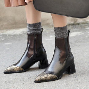 Leather Pointed Toe Patchwork Zipper Boots
