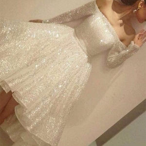 Sexy Word Shoulder Sequin Skater Dress