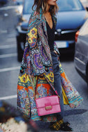 Chic Ethnic Lapel Collar Floral Printed Oversize Cotton Long Coat