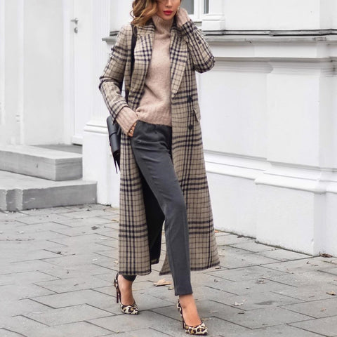Fashion Grid Long Sleeve Coat