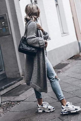 Fall Fashion Women Solid Color Long Cardigan