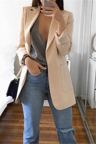 Casual Pure Color Lapel Slim Cardigan Style Suit Jacket