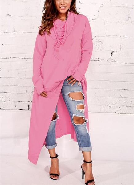 Casual Solid Color Oversize Long Hoodie