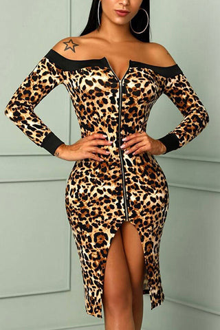 Sexy Off Shoulder Leopard Printed Zipper Split Joint Bodycon Dress