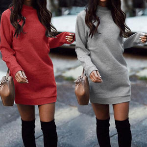 Crew Neck Patchwork Rib Knit Cuffs Plain Bodycon Dresses