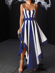 Spaghetti Strap  Striped Evening Dresses