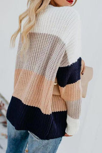 Round Neck Striped Sweaters