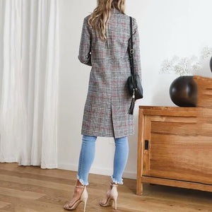 Fashion Plaid Long Trench Coat Casual Blazer Coat