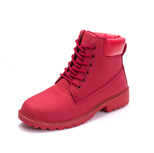 Pure Color Flat Bottom PU Leather Boots