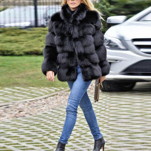 Faux Fur Long Sleeve Fashion Winter Coats