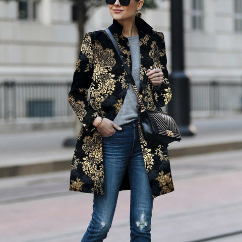Fashion Printed Color Printed Long Sleeve Coat