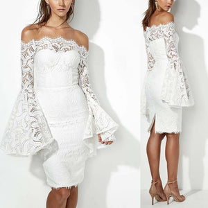 Sexy Lace Wrapped Strapless Slim Fit Long Sleeve Bodycon Dress