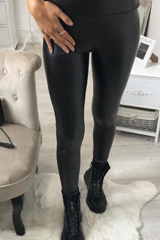 Long Elegant Plain Leggings Black Pants