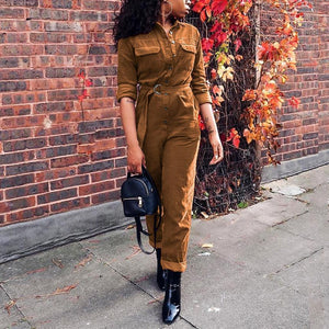 Casual Corduroy Pure Colour Long Sleeve Jumpsuits