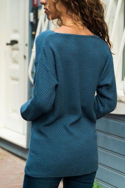 V Neck Solid Color Plain Knit Sweaters