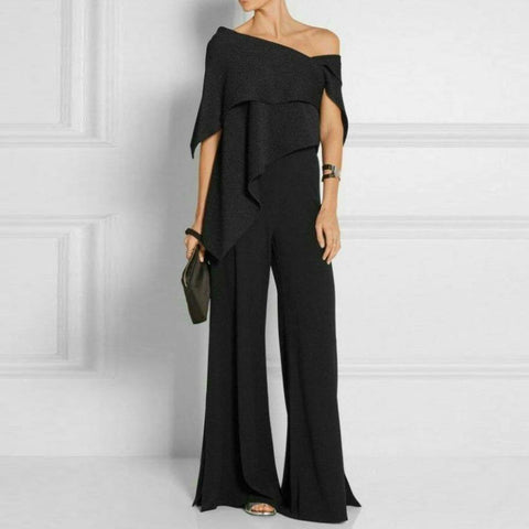 Fashion Off-Shoulder  Pure Colour Jumpsuit
