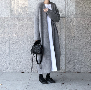 Pure Color Easy Casual Long Cardigan Knitting Sweater