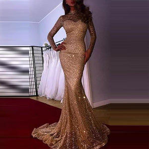Glamorous Sequins Long Sleeve Evening Dress