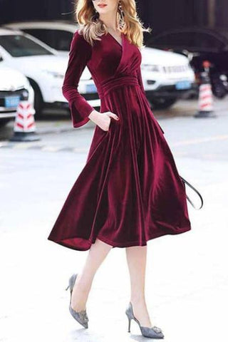 Elegant V Collar Plain Pagsda Sleeve Slim Skater Dress