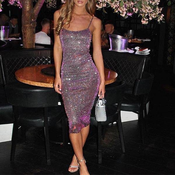 Shining Crystal Sexy Sling Bodycon Dress
