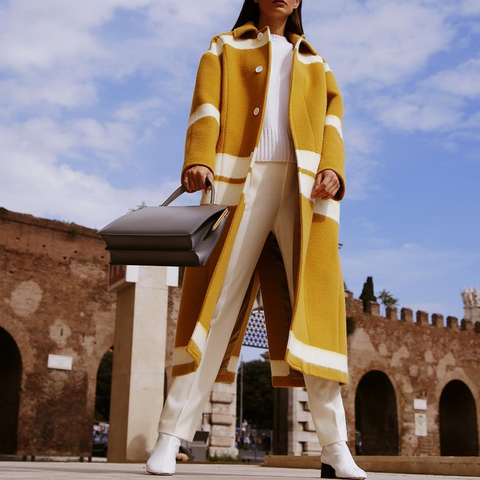 Chic Lapel Yellow White Color Blocking Loose Woolen Long Coat