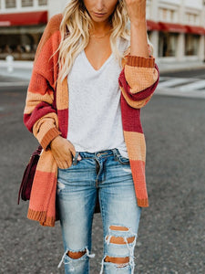 Casual Elegant Long Sleeve Contrast Color Knitted Cardigan