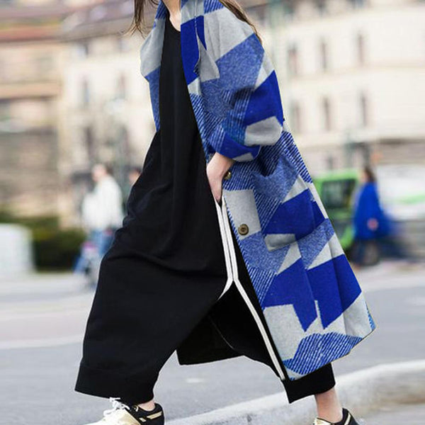 Autumn And Winter Fashion Geometric Pattern Coat