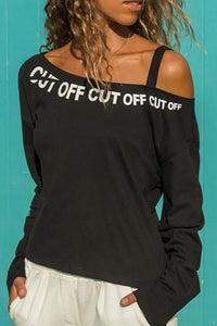 Fashion Off-Shoulder Letter Printing T-Shirt