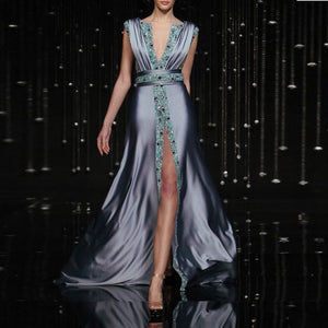 Pre-Sale Sexy Fashion Deep V Collar Sleeveless Sequin Fork Evening Dress