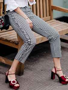 Fashion Ruffled Side Zip Plaid Casual Trousers